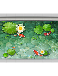 Lotus 3D Stickers The Floor Tile Individuality Decorative Carpet Decal