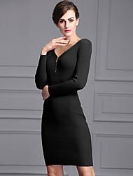 a saia longa seção novo europeus e americanos v-pescoço zipper magro hip pacote tecido do vestido de alta fio elástico assentamento