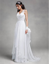 cheap -A-Line V-neck Sweep / Brush Train Chiffon Lace Wedding Dress with Lace by LAN TING BRIDE®