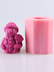cheap -Snowman Soap Molds Mooncake Mould Fondant Cake Chocolate Silicone Mold, Decoration Tools Bakeware