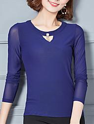 billige -Dame - Ensfarvet Net Gade I-byen-tøj Plusstørrelser T-shirt
