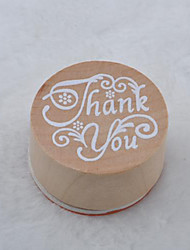 cheap -Vintage Floral Pattern Word Round Wooden Rubber Stamp(Thank you)