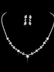 cheap -Jewelry 1 Necklace 1 Pair of Earrings Rhinestone Wedding Party Alloy Rhinestone Silver Plated 1set Women Silver Wedding Gifts