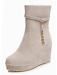 Women's Boots Winter Others Leatherette Dress / Casual Wedge Heel Zipper Black / Beige / Orange / Burgundy Others