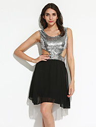 cheap -Women's A Line Dress - Patchwork, Sequins Cut Out Pleated Low Rise Mini
