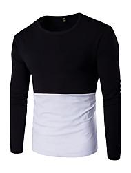 Langærmet Rund hals Herrer Ensfarvet Farveblok Vintage Sport Afslappet/Hverdag T-shirt,Bomuld