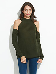 cheap -Women's Going out Street chic Long Sleeves Wool Pullover - Solid Colored