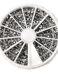 Argento 3600pcs acrilico strass Nail Art Decorazioni (2mm)
