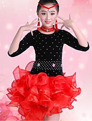 Latin Dance Dresses Children's Performance Organza Velvet Ruffles Sash/Ribbon Crystals/Rhinestones 4 Pieces Half Sleeve HighDress