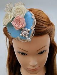 cheap -Chiffon Pearl Lace Fabric Fascinators Hats Hair Clip Headpiece
