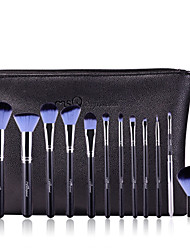 12 Conjuntos de pincel Pêlo Sintético Profissional / Viagem / Cobertura Total / Portátil Madeira Rosto / Olhos / Lábio MSQ
