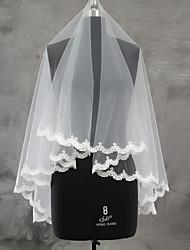 Wedding Veil One-tier Blusher Veils Fingertip Veils Lace Applique Edge Scalloped Edge Tulle Lace
