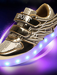 Unisex Athletic Shoes Spring Summer Fall Winter Comfort Novelty Light Up Shoes PU Outdoor Casual Athletic Lace-up Magic Tape LEDGold