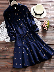 New autumn and winter giraffe lapel half open buckle Korean literary style casual dress sanding