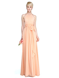 cheap -Sheath / Column Jewel Neck Floor Length Chiffon Bridesmaid Dress with Sash / Ribbon Pleats Ruched by LAN TING BRIDE®