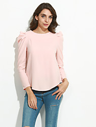 Women's Casual/Daily Simple Fall Shirt,Solid Round Neck Long Sleeve Pink / Red / Black Polyester Opaque