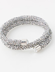 cheap -Women's Crystal Bangles / Bracelet - Rhinestone, Imitation Diamond Double-layer Bracelet Black / Silver / Blue For Wedding / Party / Anniversary