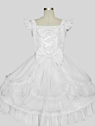 Недорогие -Принцесса Sweet Lolita Инвентарь Жен. Девочки Хлопок Японский Косплей костюмы Белый Однотонный Без рукавов До колена