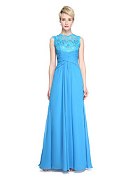 cheap -Sheath / Column Jewel Neck Floor Length Chiffon / Lace Bridesmaid Dress with Side Draping / Criss Cross / Pleats by LAN TING BRIDE® / See Through