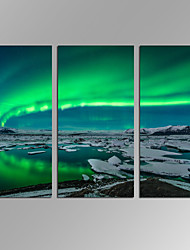 VISUAL STAR®Blue Green Modern Aurora Borealis Northern Light Canvas Prints Picture Painting Framed Ready to Hang