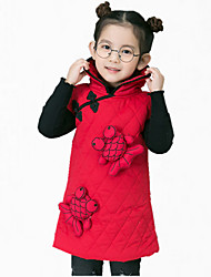 economico -Vestito Ragazza Quotidiano Cotone Ricamato Inverno Autunno Senza maniche Abbigliamento Rosso