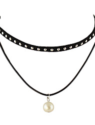 Punk Rock Black Layers Pu Suede Imitation Pearl Necklaces