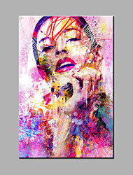 cheap -Hand-Painted Abstract / Abstract Portrait Oil Painting One Panel Canvas Oil Painting