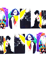 cheap -11sheets  Mixed Cartoon Human Picture DIY  Water Transfer Sticker Nail Art Beautiful STZ Human Picture11