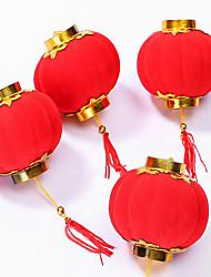 Недорогие -3шт маленький флокирующий красный фонарик свадебный подарок декорации подарок дий ремесла милые китайские пластиковые фонари