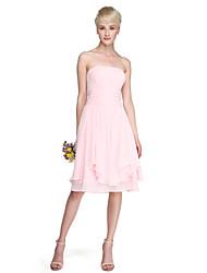 Linea-A Da principessa Senza bretelline Al ginocchio Chiffon Vestito da damigella con Drappeggio Con ruche di LAN TING BRIDE®