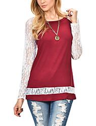 T-shirt Da donna Per uscire / Casual Moda città Primavera / Autunno,Collage Rotonda Poliestere Rosso / Nero Manica lunga Medio spessore