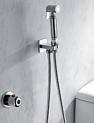 cheap -Contemporary Modern Shower System Handshower Included Thermostatic Brass Valve Single Handle Two Holes Chrome, Shower Faucet