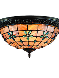 The lilacs Retro Tiffany Ceiling Lamp /Shell Shade Flush Mount Living Room  Bedroom Dining Room Kids Room light Fixture
