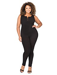 cheap -Women's Lace up Plus Size Skinny Club Sexy Solid Round Neck Sleeveless High Rise Stretchy Pants Summer Fat Jumpsuit