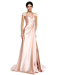 A-Line Straps Court Train Stretch Satin Prom Formal Evening Dress with Flower(s) Split Front Criss Cross by TS Couture®