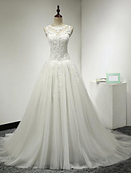 A-Line Illusion Neckline Court Train Tulle Wedding Dress with Appliques by DRRS