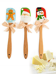 cheap -1pc Silicone Wood Christmas Holiday For Cake Baking & Pastry Spatula Bakeware tools