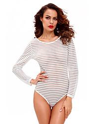 cheap -Women Teddy Nightwear,Polyester / Spandex Sheer Striped Bodysuit