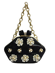 cheap -Women's Bags Patent Leather Evening Bag Pearl Imitation Pearl Crystal/ Rhinestone Flower for Wedding Event/Party Formal All Seasons Black