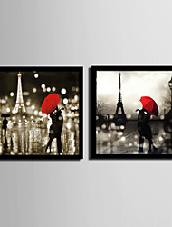 cheap -People / Architecture Framed Canvas / Framed Set Wall Art,PVC Black No Mat With Frame Wall Art