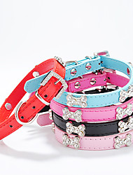 cheap -Dog Collar Adjustable / Retractable Bone PU Leather Black Rose Red Blue Pink