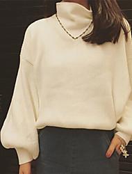 Pullover Femme Sexy,Couleur Pleine Col Roulé Manches Longues Acrylique Automne Moyen Micro-élastique
