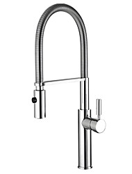 Contemporary Pull-out/­Pull-down Vessel Widespread Rotatable Ceramic Valve Single Handle One Hole Chrome , Kitchen faucet