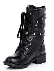 Women's Boots Spring Winter Comfort Leatherette Outdoor Casual Chunky Heel Buckle Lace-up Black