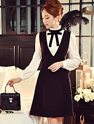 Mujer Línea A Vestido Fiesta/Cóctel / Noche / Trabajo Vintage / Sofisticado,Un Color Escote en Pico Sobre la rodilla Sin Mangas NegroLana