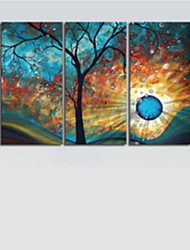 cheap -Hand-Painted Modern Tree Sun Moon Wall Art Decoration  Oil Painting on Canvas  3pcs/set Without Frame