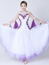 Ballroom Dance Dresses Women's Performance Spandex Tulle Crystals/Rhinestones Splicing 1 Piece Sleeveless Dress