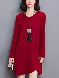 cheap -Women's Plus Size / Daily Street chic Loose /Sweater Dress Solid Asymmetrical Red / Black Fall /Winter Cotton /Polyester