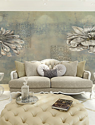 JAMMORY Wallpaper For Home Wall Covering Canvas Adhesive required Mural Gray-green Chrysanthemum XL XXL XXXL