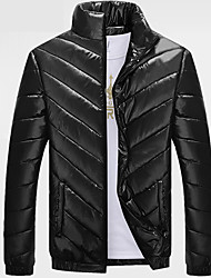 Men's Long Padded CoatSimple Plus Size Solid-Polyester Polyester Long Sleeve Shirt Collar Black Hot Sale High Quality Brand Fashion